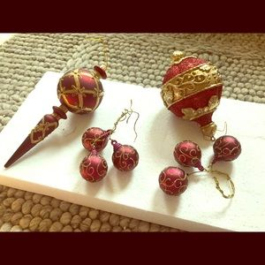 Other - Four red and gold Christmas ornaments